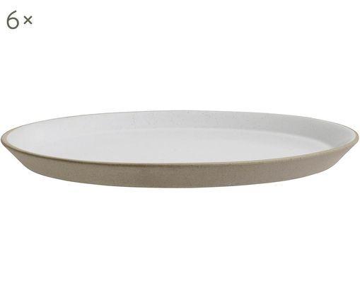 Piatto da colazione Blanca, 6 pz., Beige, bianco latteo