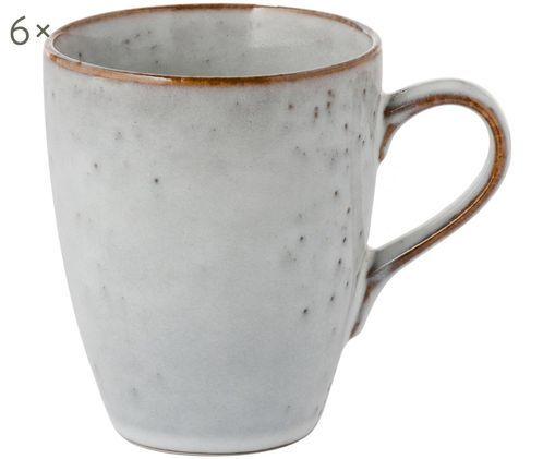 Handgemachte Tassen Nordic Sand, 6 Stück, Steingut, Sand, Ø 10 x H 12 cm