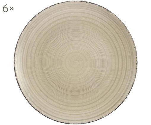 Speiseteller Baita, 6 Stück, Steingut (Hard Dolomite), handbemalt, Grau, Ø 27 cm