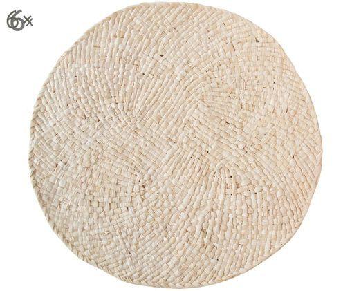 Manteles individuales Essaouira, 6uds., Hojas de maíz, Beige, Ø 38 cm