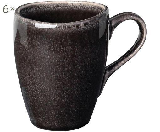 Tasses faites à la main Nordic Coal, 6pièces, Tons bruns
