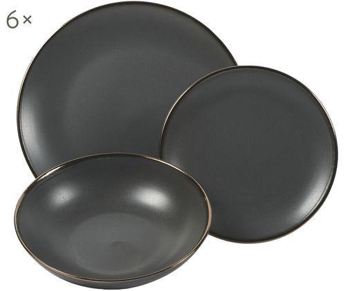 Set di piatti Cala, 18 pz., Gres, Nero, Diverse dimensioni