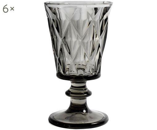 Verres à vin avec embossage décoratif Diamond, 6pièces, Fumé, légerement transparent