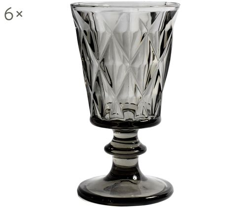 Kieliszek do wina Diamond, 4 szt., Szkło,  Ciemnyszary, lekko transparentny, Ø 9 x W 16 cm