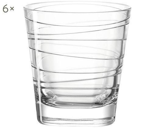 Wassergläser Vario mit feinen Linien, 6er-Set, Kalk-Natron Glas, Transparent, Ø 8 x H 9 cm