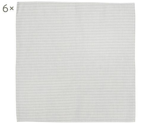 Tovagliette Streifen, 6 pz., Bianco, grigio, Larg. 45 x Lung. 45 cm
