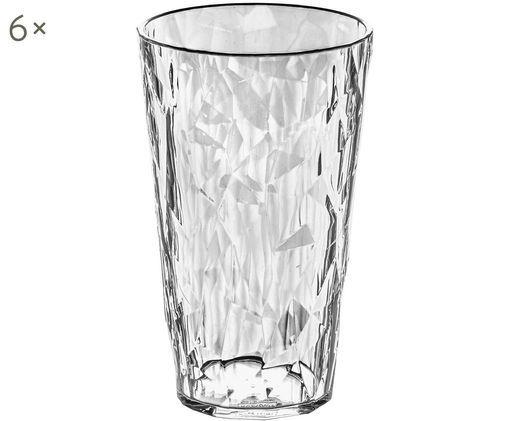 Vasos de plástico Club, 6uds., Plástico SAN, libre de BPA, Transparente, Ø 9 x Al 14 cm