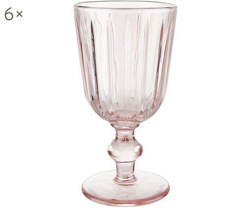 Weingläser Colori im Landhausstil in Rosa, 6er-Set, Glas, Rosa, Ø 9 x H 16 cm