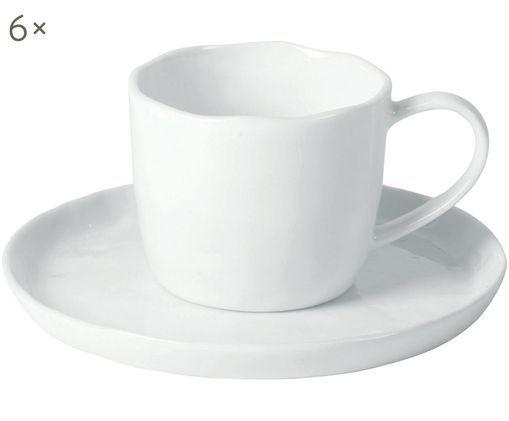 Tassen-Set Porcelino, 12-tlg., Porzellan, Weiß, H 9 x Ø 16 cm