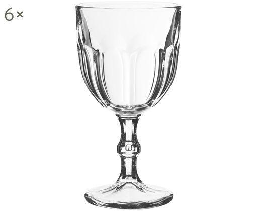 Weingläser Lousanne mit Relief, 6er-Set, Glas, Transparent, Ø 9 x H 17 cm