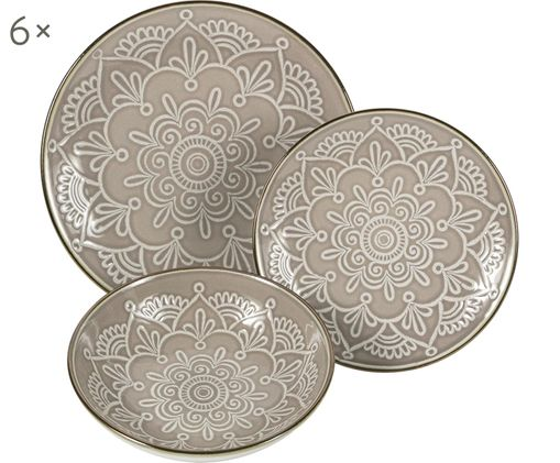 Geschirr-Set Baku mit Ornament-Relief, 6 Personen (18-tlg.)