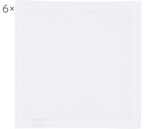 Leinenservietten Alanta, 6 St, Schneeweiß, 42 x 42 cm