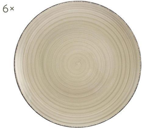 Frühstücksteller Baita, 6 Stück, Steingut (Hard Dolomite), handbemalt, Grau, Ø 20 cm