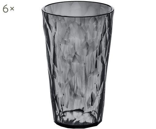 Kunststoff-Wassergläser Club, 6 Stück, SAN-Kunststoff, BPA-frei, Grau, transparent, Ø 9 x H 14 cm