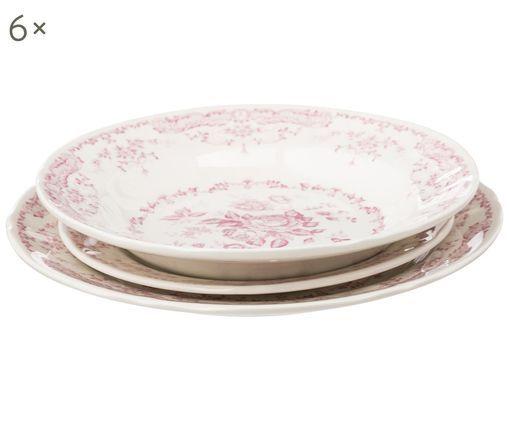 Komplet naczyń Rose, 18 elem., Ceramika, Biały, różowy, Różne rozmiary
