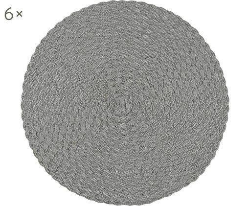 Manteles individuales redondos de plástico Avon, 6uds., Polipropileno, Gris, Ø 38 cm