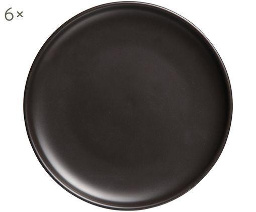 Frühstücksteller Okinawa, 6 Stück, Keramik, Schwarz, matt, Ø 20 cm
