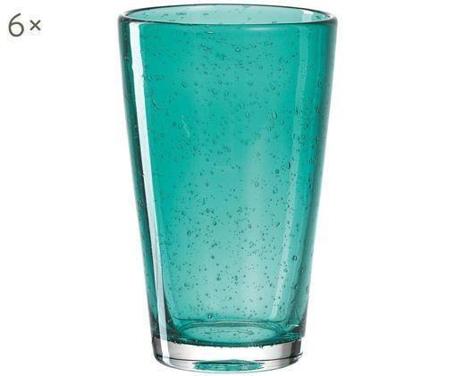 Wassergläser Burano in Türkis mit Lufteinschlüssen, 6er-Set, Türkis, leicht transparent