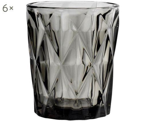 Wassergläser Diamond mit Strukturmuster, 6er-Set, Glas, Rauchgrau, leicht transparent, Ø 8 x H 10 cm
