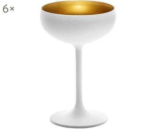 Kryształowy kieliszek do szampana Elements, 6 szt., Szkło kryształowe, powlekany, Biały, odcienie mosiądzu, Ø 10 x W 15 cm