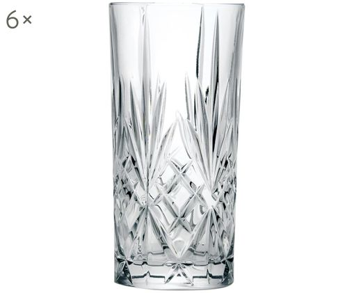 Kristallen longdrinkglazen Melodia, 6 stuks, Kristalglas, Transparant, Ø 7 x H 15 cm