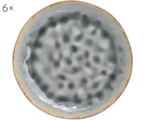 Piatto da colazione Lagune, 6 pz., Ceramica, Marrone grigiastro, toni verdi, Ø 20 cm
