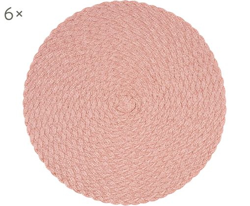 Tovaglietta di plastica rotonda Avon, 6 pz., Polipropilene, Rosa chiaro, Ø 38 cm