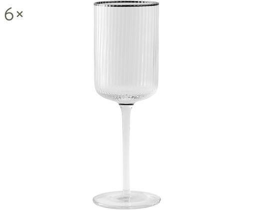 Bicchiere da vino rosso Rilly 6 pz, Vetro, Trasparente, argentato, Ø 7 x Alt. 23 cm