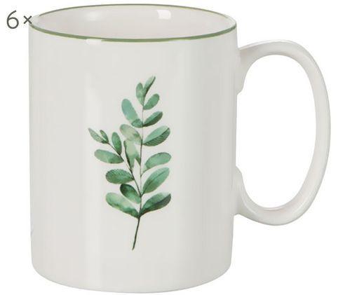 Tassen Eukalyptus, 6 Stück, New Bone China, Weiß, Grün, Ø 8 cm