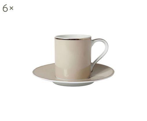 Set tazzine da caffè Lydia, 12 pz., Taupe chiaro