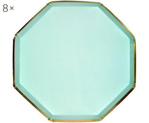 Papier-Teller Simply Eco, 8 Stück, Papier, foliert, Mintgrün, Ø 20 x H 1 cm