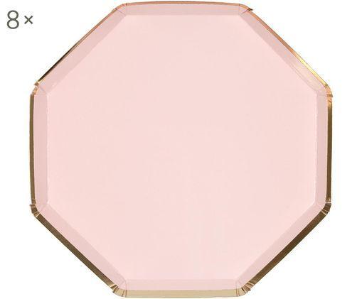Talerz z papieru Simply Eco, 8 szt., Papier, foliowany, Blady różowy, Ø 20 x W 1 cm