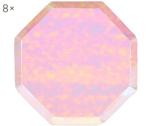 Piatto di carta Iridescente, 8 pz., Carta, sventato, Rosa, Ø 20 x Alt. 1 cm