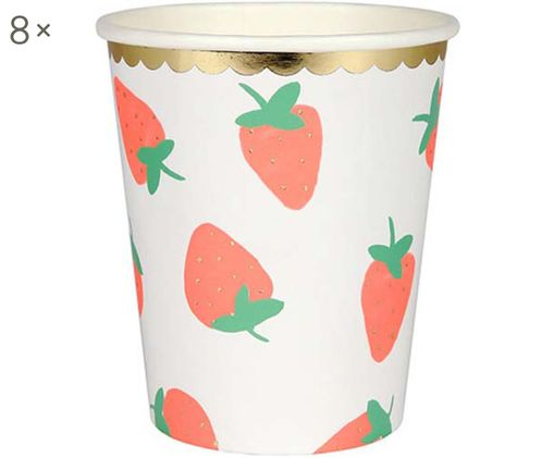 Vasos de papel Strawberry, 8 uds., Papel, foliert, Blanco, rosa, verde, Ø 8 x Al 8 cm