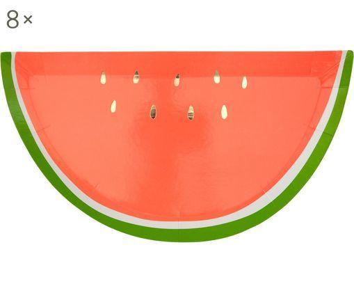 Platos de papel Watermelon, 8uds., Papel, foliert, Rojo, verde, dorado, An 28 x F 15 cm