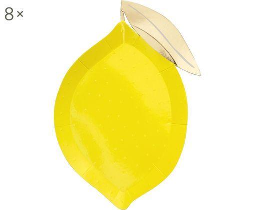 Piatto di carta Lemon, 8 pz., Carta, sventato, Giallo, dorato, Larg. 25 x Prof. 17 cm