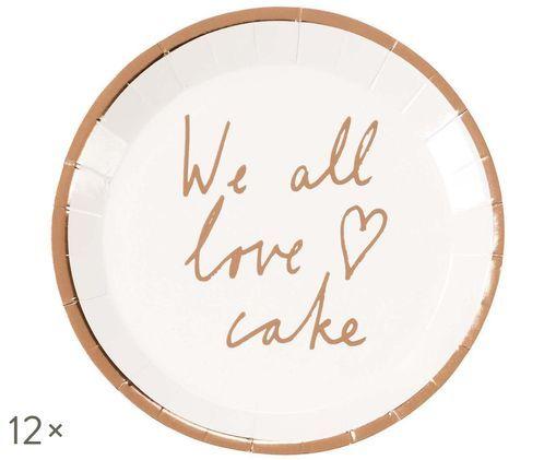 Piatto di carta We All Love Cake, 12 pz., Bianco, oro rosa