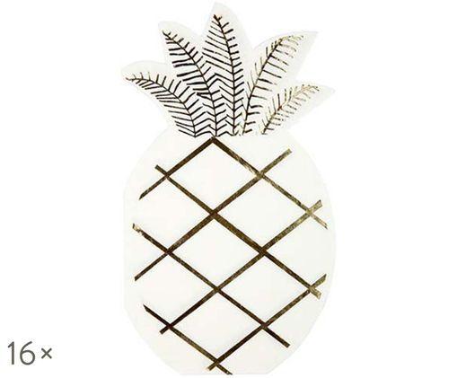 Tovaglioli di carta Pineapple, 16 pz., Bianco, dorato