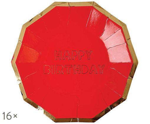 Piatto di carta Happy Birthday, 16 pz., Rosso, dorato