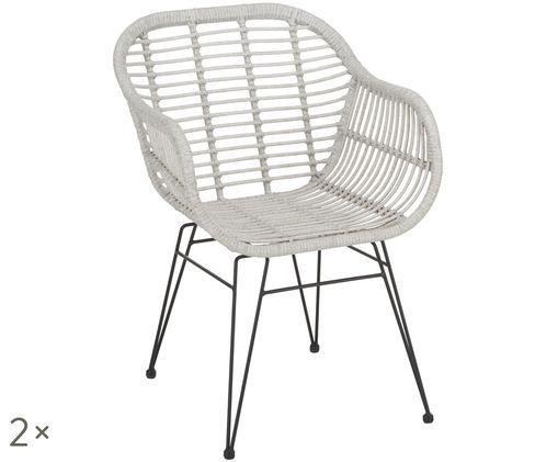 Sedie con braccioli Costa, 2 pz., Seduta: grigio chiaro, macchiato Struttura: nero opaco