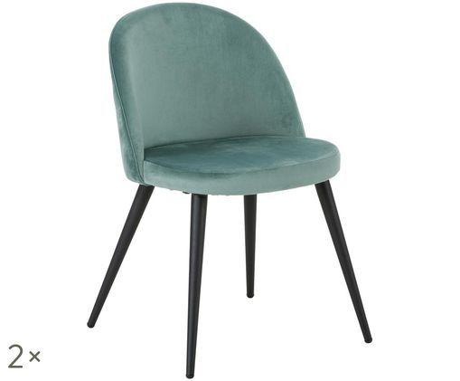 Fluweel gestoffeerde stoelen Amy, 2 stuks, Turquoise