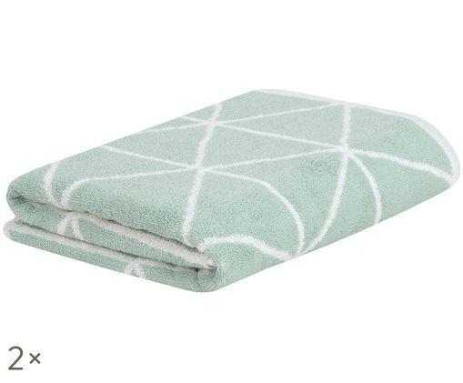 Asciugamano reversibile Elina, 2 pz., Verde menta, bianco crema