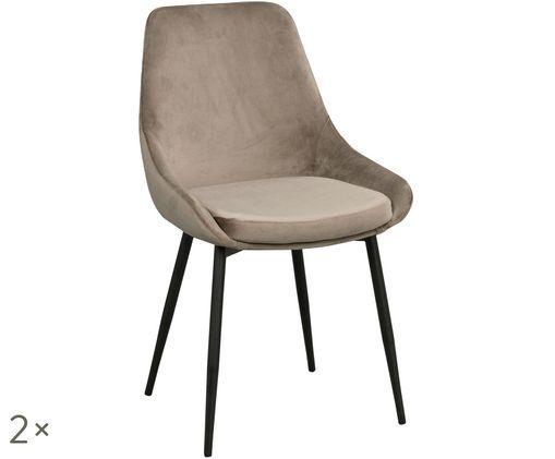Krzesło tapicerowane z aksamitu Sierra, 2 szt., Beżowy, czarny