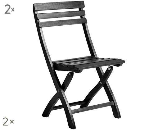 Składane krzesło ogrodowe Clarish, 2 szt., Czarny