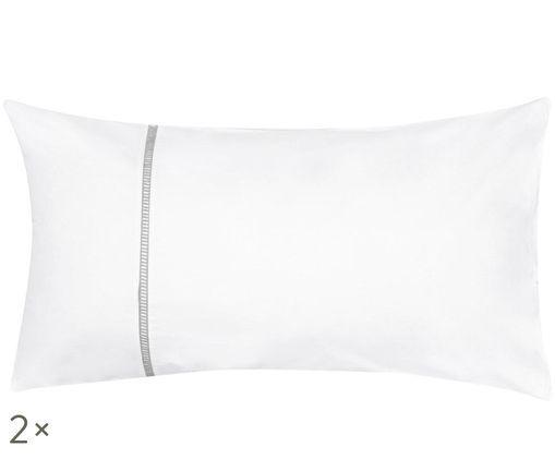 Poszewka na poduszkę z perkalu Mari, 2 szt., Biały, szary