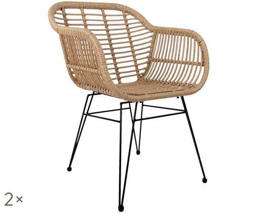 Polyratanová stolička sopierkami Costa, 2ks, Sedadlo: prírodné farby, konštrukcia: čierna