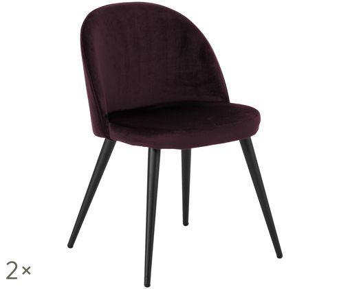 Fluweel gestoffeerde stoelen Amy, 2 stuks, Bordeauxrood