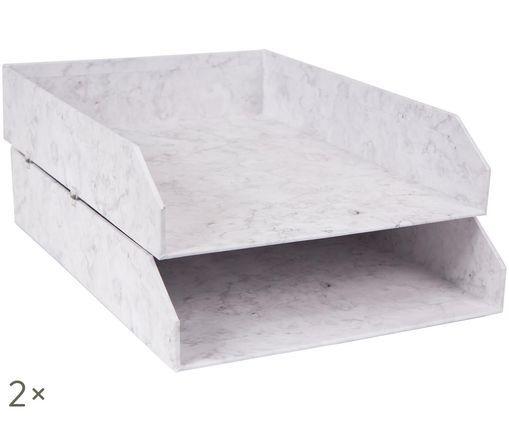 Vassoio per documenti Hakan, 2 pz., Bianco marmorizzato