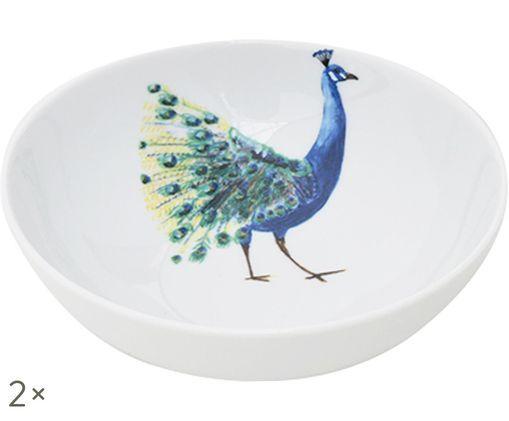 Ciotole Peacock, 2 pz., Bianco, blu, giallo, verde