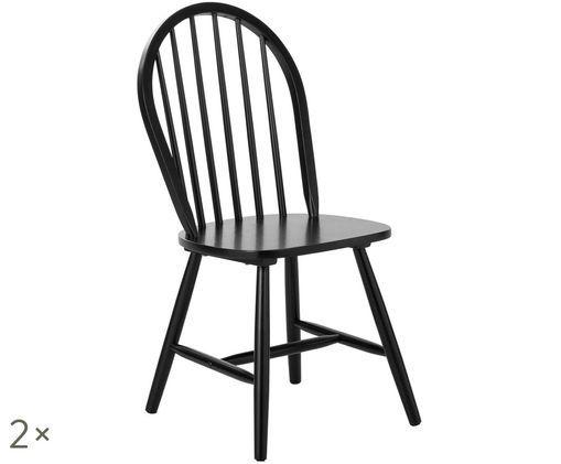 Sedia in legno Jonas in design Windsor, 2 pz., Nero